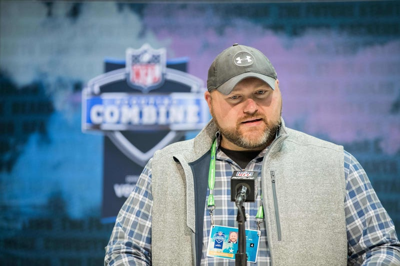 Jets GM Joe Douglas talks at the NFL Scouting Combine.