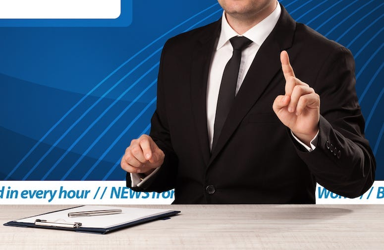 News Anchor, Broadcast, Male, Desk, Pointing