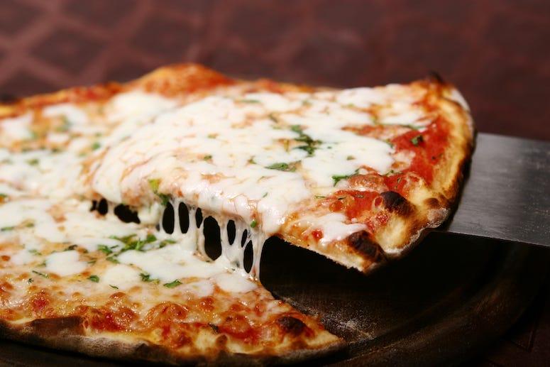 Pizza, Slice, Cheesy, Gooey, Basil, Yummy Pizza
