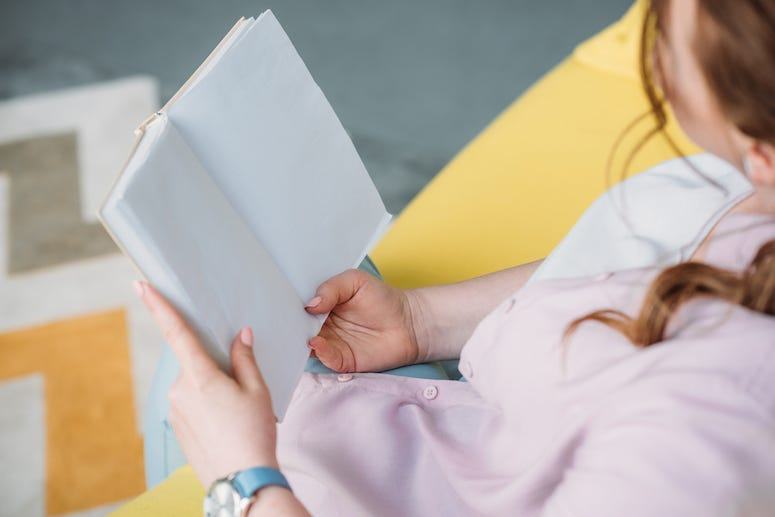Woman, Reading, Book, Pink Shirt, Couch