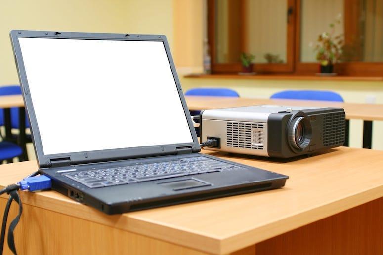 Laptop, Projector, School, Classroom, Desk