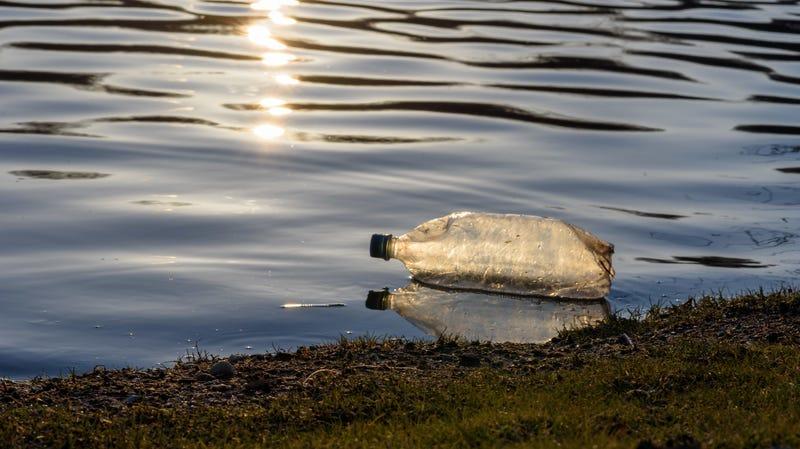 Water bottle in a river.