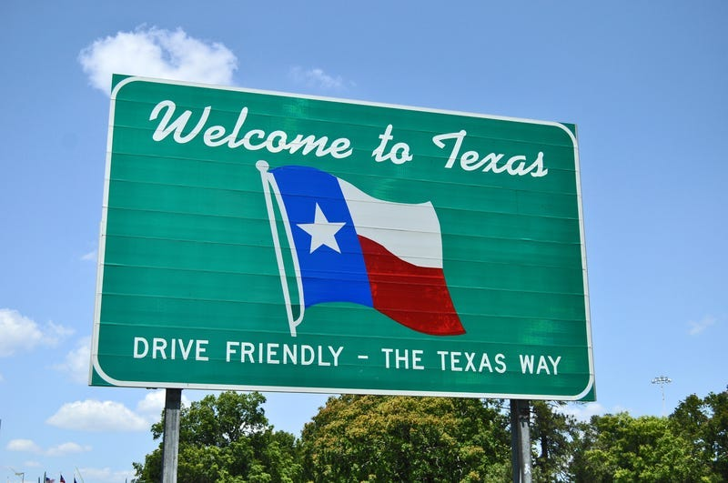 Welcome to Texas road sign.