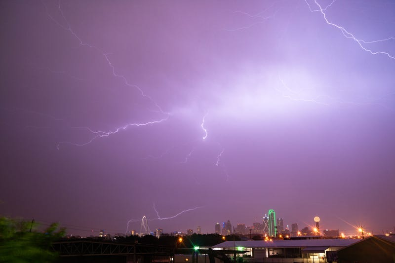 Lightning Electrical Storm Dallas Texas City Skyline.