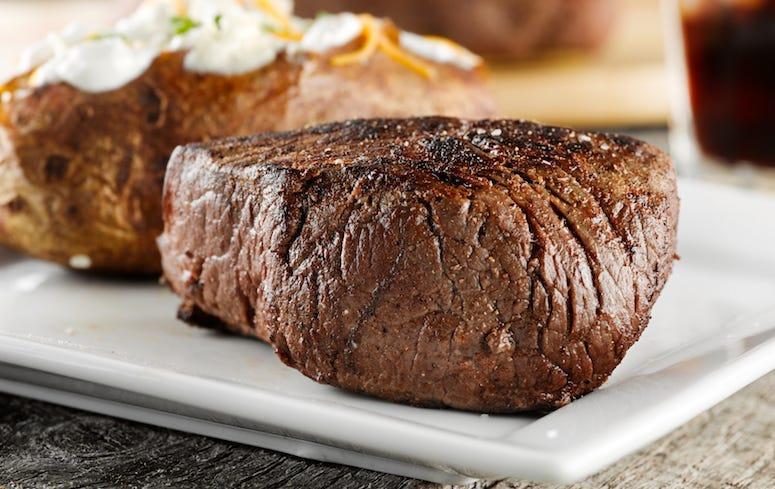 Grilled Steak, Baked Potato, Dinner