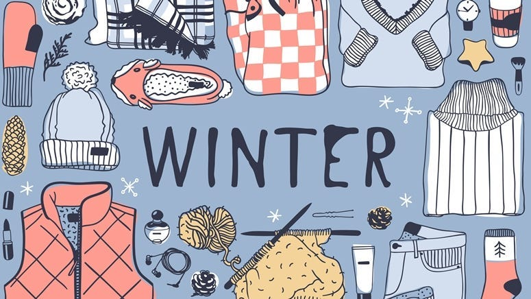 Hand drawn fashion illustration. Creative ink art work. Actual cozy vector drawing. Winter set, wear, shoes, accessories, food, dr