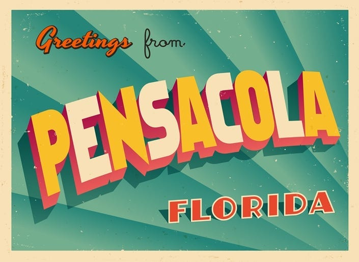 Vintage Touristic Greeting Card From Pensacola, Florida