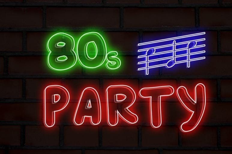80s party neon lights