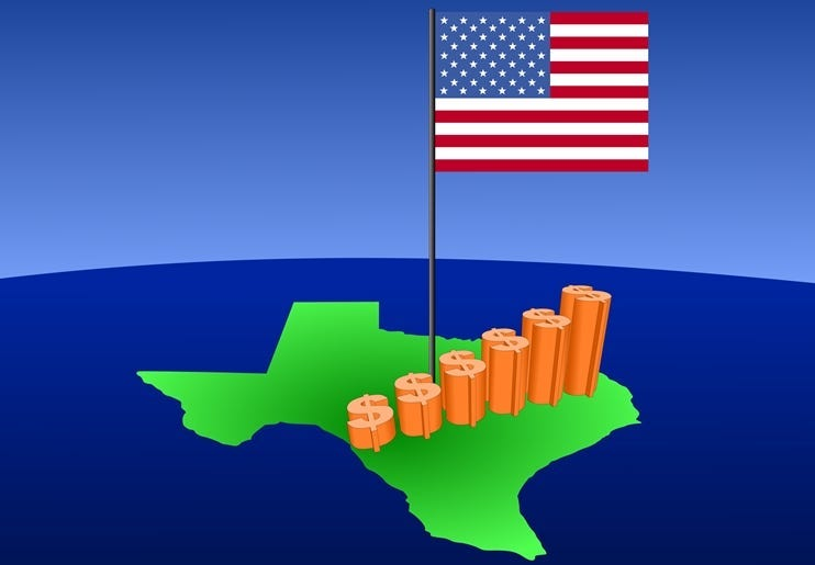 Dollar graph on Texas map.