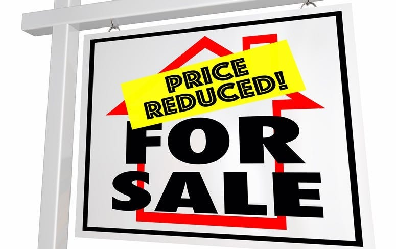 For Sale Price Reduced Home House Real Estate Sign 3d Illustration.