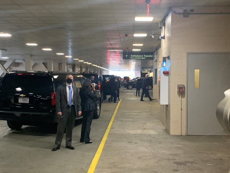 Trump arrives at Weill Cornell Medical College