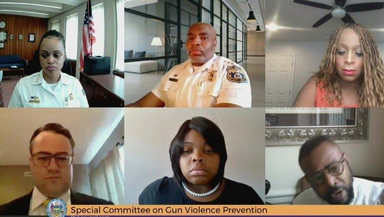 Officials in Philadelphia on the first day of of the virtual hearing before City Council's Special Committee on Gun Violence Prevention