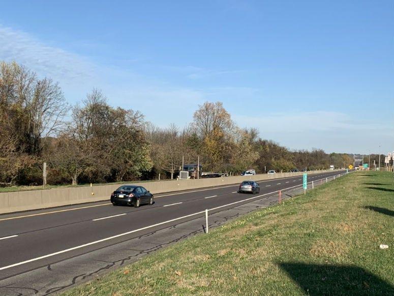 Cars on the Pennsylvania Turnpike.