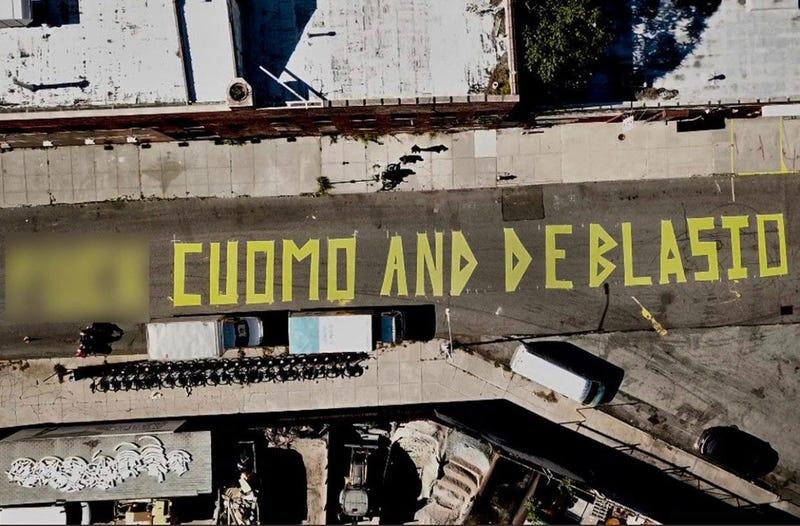 Anti-Cuomo and de Blasio mural