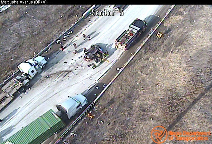 An expressway camera shows a response to a rollover crash Dec. 11, 2019 on the inbound Dan Ryan Expressway.