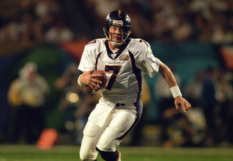 John Elway picks up some yards with his feet in the Super Bowl
