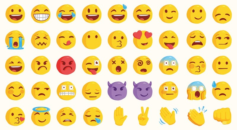 Emojis and emoticons laid out in a grid.