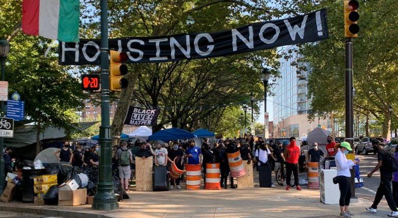 Protest encampment along the Parkway