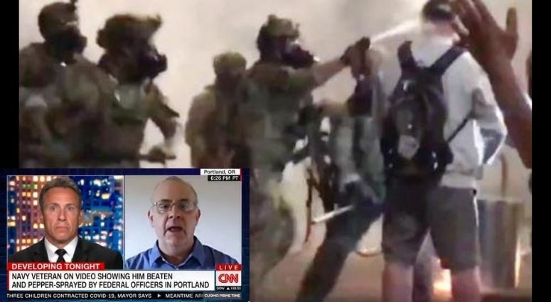 "Navy vet Chris David dubbed ""Captain Portland"" talks violence at protests"