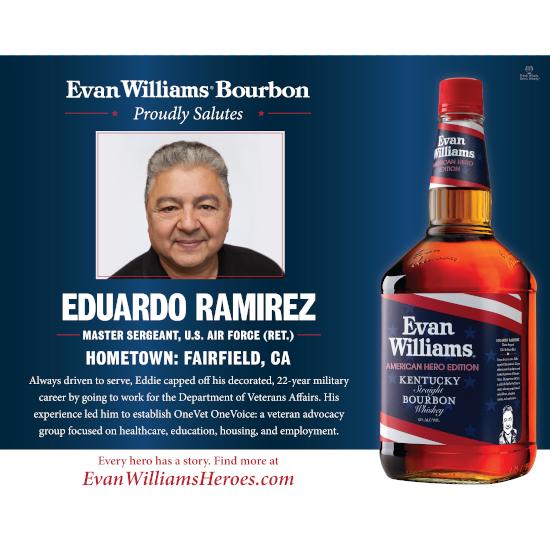 Air Force veteran (Ret.) Master Sgt. Eddie Ramirez is an Evan Williams Bourbon American Hero award recipient