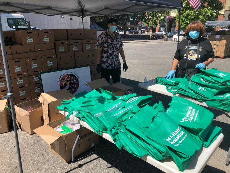 Oakland Unified School District and Lend a Hand distribute food and school supplies at pop-up centers in Oakland