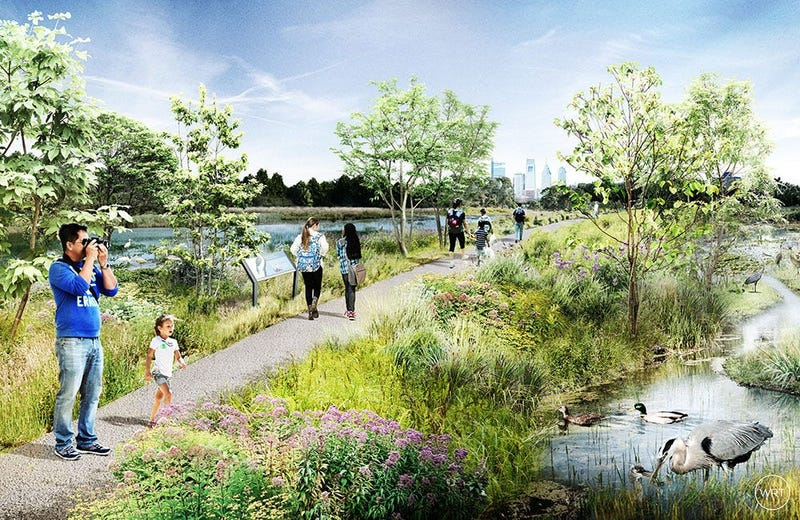 Concept art of the new wetlands to be created during the renovation of FDR Park.