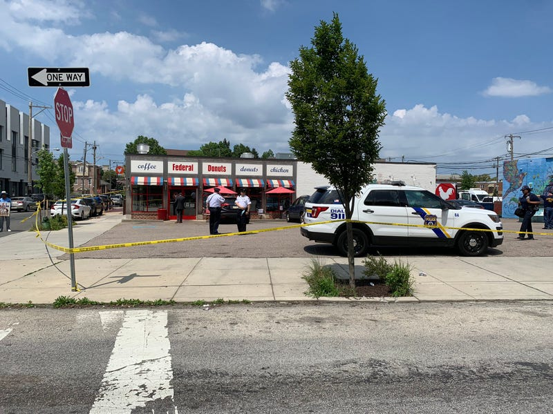 The scene of a double shooting at Federal Donuts Thursday in Philadelphia.