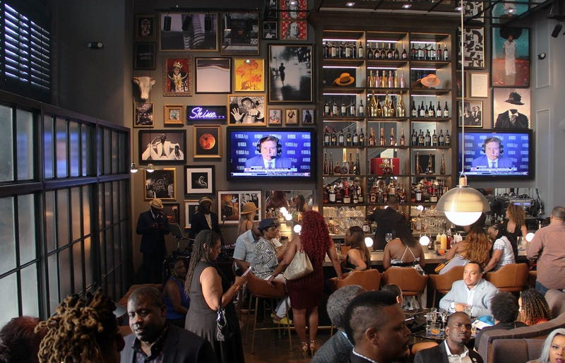 The bar on the main floor inside Cam Newton's Fellaship lounge in Atlanta