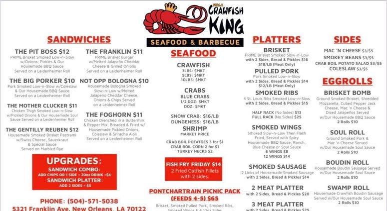 crawfish king menu