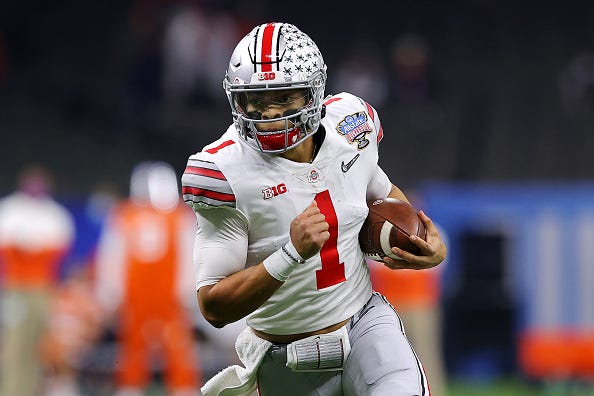 Justin Fields picks up some yards on his feet for Ohio State