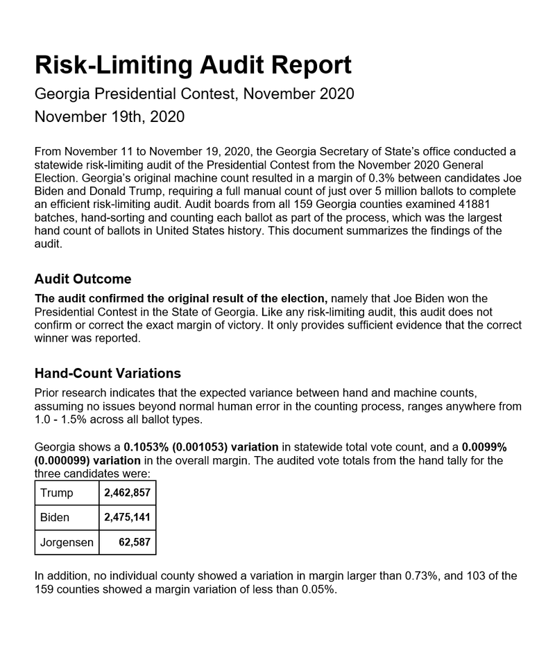 Gerogia Presidential Contest Risk Limiting Audit Report