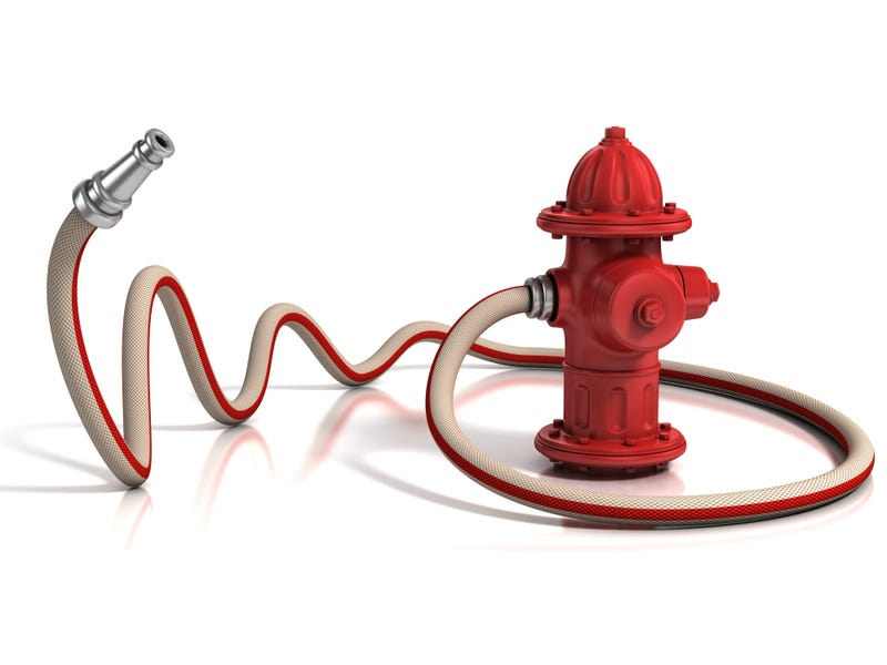 3D illustration of a fire hydrant and hose