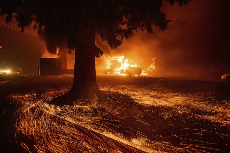 Flames consume a Kentucky Fried Chicken as the Camp Fire tears through Paradise, Calif., on Thursday, Nov. 8, 2018