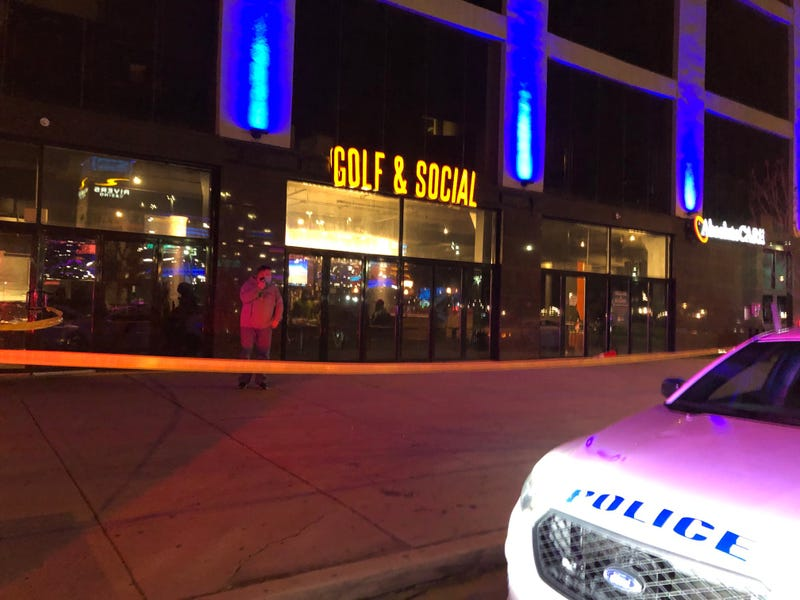 The scene outside the Golf & Social bar, after seven people were shot following what police believe was an altercation inside.
