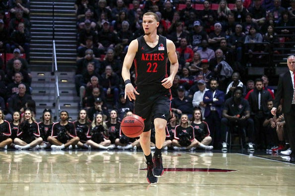 Malachi Flynn brings the ball up for San Diego State