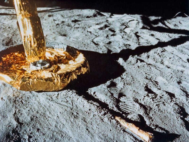 The footpad of the Apollo 11 Lunar Module the 'Eagle' rests on the surface of the Moon.