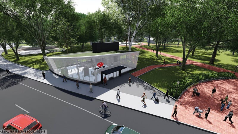 Artist's rendering of the exterior of an updated Franklin Square Station.