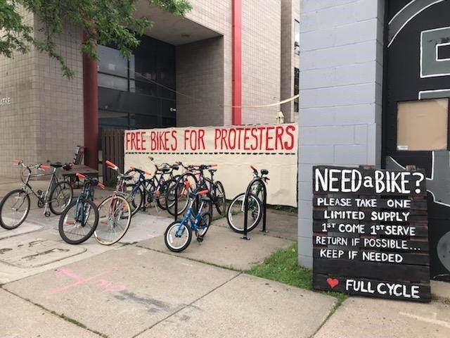 free bikes for protesters