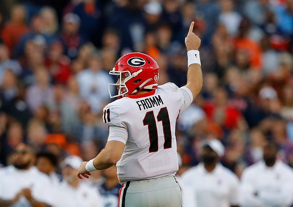 Georgia QB Jake Fromm celebrates a TD pass.