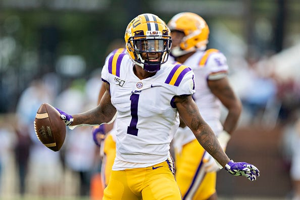 LSU CB Kristian Fulton celebrates an interception against Mississippi State.