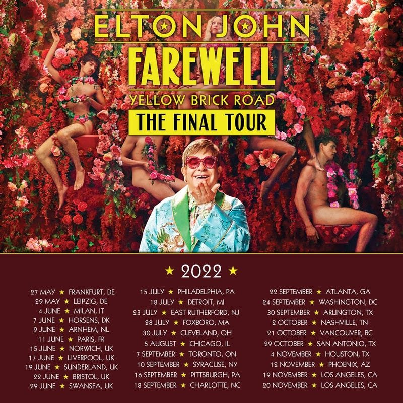 Farewell Yellow Brick Road dates