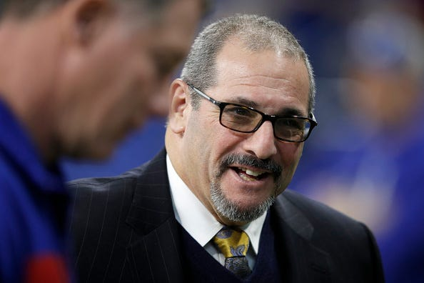 Dave Gettleman at the Giants game vs. Colts in 2018.