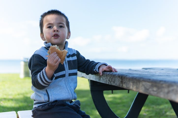 Kid with a sandwich