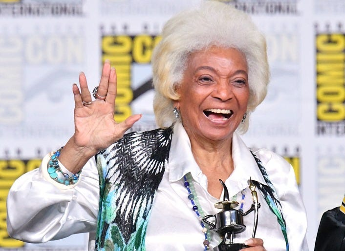 """SAN DIEGO, CA - JULY 19: Nichelle Nichols accepts an Inkpot Award onstage at the """"From The Bridge"""" Panel during Comic-Con International 2018 at San Diego Convention Center on July 19, 2018 in San Diego, California."""