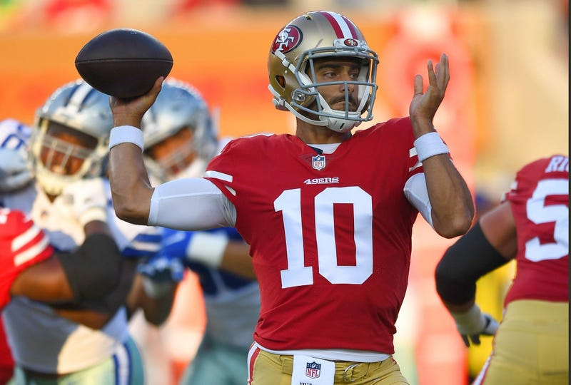 SANTA CLARA, CA - AUGUST 09: Jimmy Garoppolo #10 of the San Francisco 49ers drops back to pass against the Dallas Cowboys in the first quarter of their NFL preseason football game at Levi's Stadium on August 9, 2018 in Santa Clara, California. (Photo by T