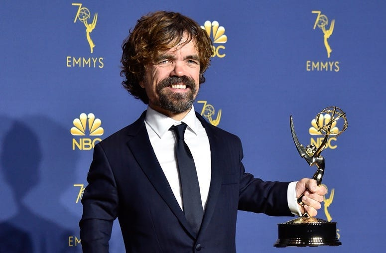 Outstanding Supporting Actor in a Drama Series Peter Dinklage poses in the press room during the 70th Emmy Awards at Microsoft Theater on September 17, 2018 in Los Angeles, California.