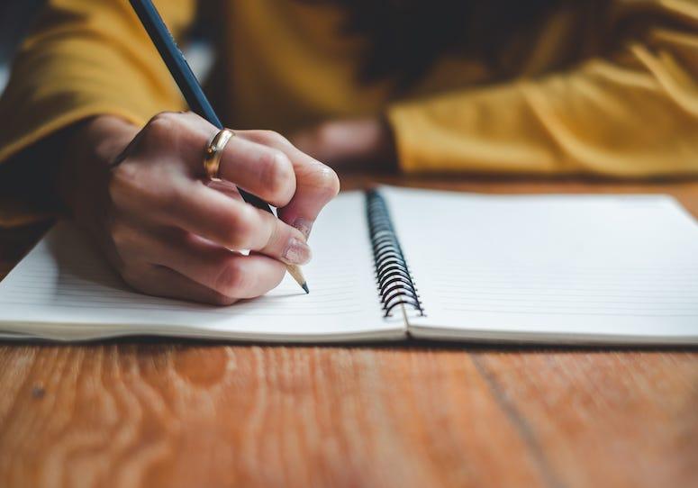 Woman, Writing, Notebook, Pen