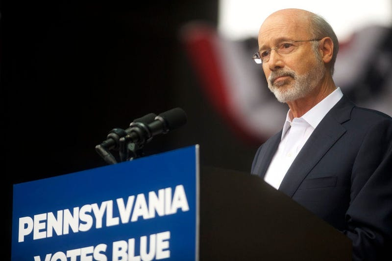 Pennsylvania Governor Tom Wolf addresses supporters during a campaign rally