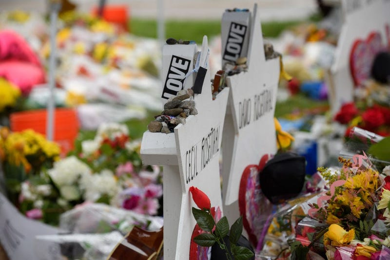 PITTSBURGH, PA - NOVEMBER 3: The makeshift memorial Saturday morning in front of the Tree of Life Synagogue on November 3, 2018 in Pittsburgh, Pennsylvania.