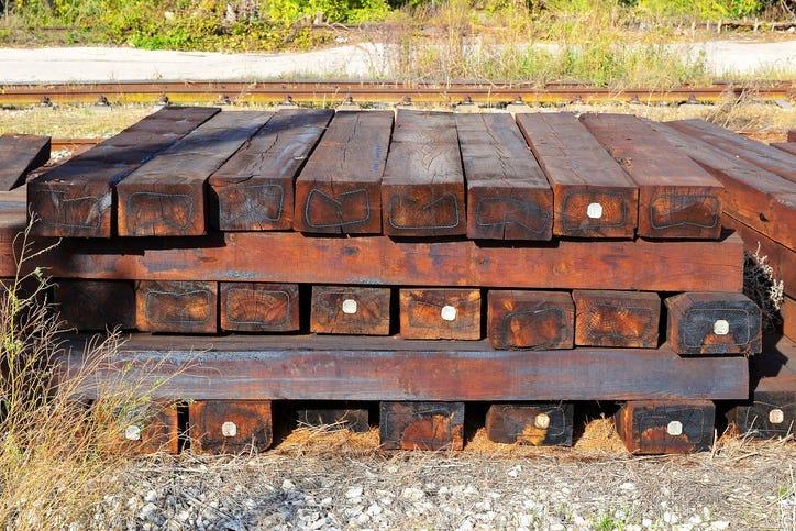 wooden railway posts